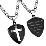 Christ My Strength Shield Cross Necklace, Black