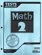 BJU Math Grade 2 Tests Answer Key, Third Edition