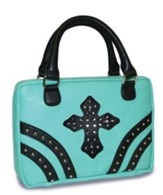 Rivets Bible Cover with Gem Cross, Mint Green, Large