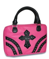 Rivets Bible Cover with Gem Cross, Pink, X-Large