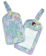 Paisley Quilted Luggage Tags, Blue Set of 2