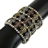TriMetal Cross Stretch Cuff Bracelet
