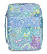 Paisley Quilted Bible Cover, Blue, Large