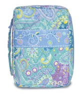 Paisley Quilted Bible Cover, Blue, Medium