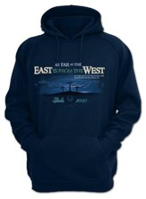As Far As the East Is From the West, Hooded Sweatshirt, Navy, Large