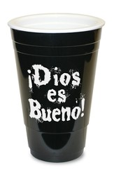 Dios es Bueno, Vaso Plástico, Negro  (God is Great, Solo Cup, Black)