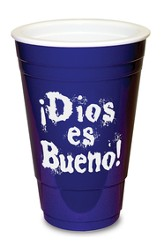 Dios es Bueno, Vaso Plástico, Azul  (God is Great, Solo Cup, Blue)