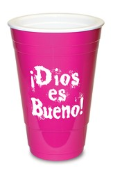Dios es Bueno, Vaso Plástico, Rosado  (God is Great, Solo Cup, Pink)
