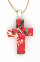 Red Flower Clay Cross Necklace