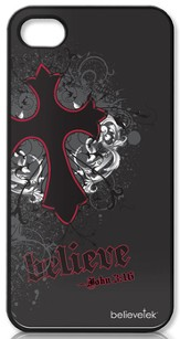 Believe with Cross iPhone 4 Case, Black