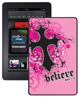 Believe with Cross Kindle Fire Case, Pink