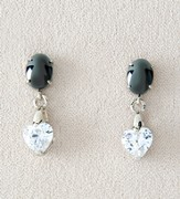 Drop Heart Earrings, Hematite