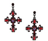 Crystal Cross Earrings, Red