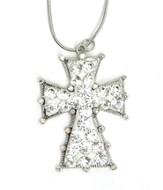 Clay Cross Necklace, White