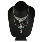 Silver Bib Hanging Turquoise Cross Necklace