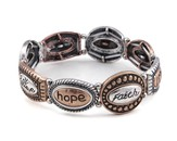 Hope, Faith, Tri-Tone Bracelet