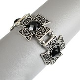 Filigree Square Cross Bracelet, Black and Silver