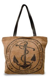 We Have This Hope As An Anchor For the Soul, Suede Leather Tote Bag