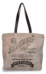 She Is Clothed In Strength and Dignity, Suede Leather Tote Bag