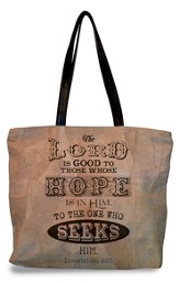 The Lord Is Good To Those Whose Hope Is In Him, Suede Leather Tote Bag