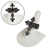 Faceted Crystal Cross Stretch Ring, Black