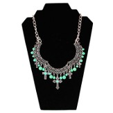 Jade Bead Bib Cross Necklace