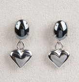 Heart Locket Earrings, Hematite