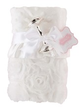 Rosette Woobie Blanket and Rattle Set, White