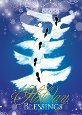 Angels Holiday Blessings Christmas Cards, African American, 15 Cards