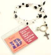 Beaded Badge Holder with Cross, Black and White