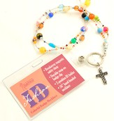 Beaded Badge Holder with Cross, Multi