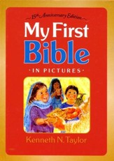 My First Bible in Pictures--hardcover, red with handle 15th Anniversary Edition Gold handle