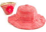 Sun Hat in Straw Bag, Pink