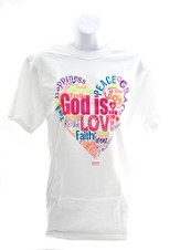 God Is Love Shirt, White, Large