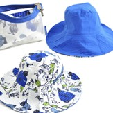 Sun Hat in Zipper Case, Floral