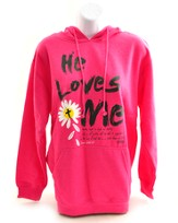 He Loves Me Hoodie, Pink, Medium