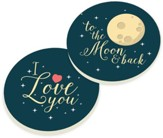 To the Moon and Back Car Coasters, Set of 2