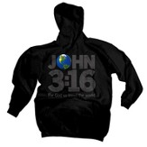 John 3:16 World Hoodie, Black, Extra Large