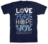 Love, Peace, Hope, Joy Shirt, Navy, Small