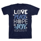 Love, Peace, Hope, Joy Shirt, Navy, Extra Large - Slightly Imperfect