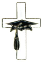 Graduation Cap and Cross Lapel Pin