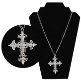 Filigree Crystal Cross Pendant, Silver