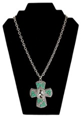 Large Turquoise and Crystal Flowers Cross Necklace, Silver