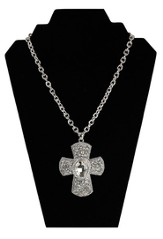 Large Crystal Flowers Cross Necklace, Silver