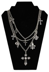 Antiqued Triple Strand Charms Necklace, Silver