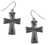Antiques Silver Textured Swirl Cross Earrings