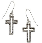 Silver Cross Silver Cut Out Center Earrings