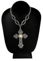 Antiqued Cross Necklace with Pearl Center, Silver