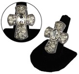 Antiqued Cross Stretch Ring with Flowers, Silver