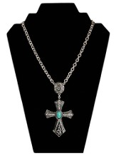 Antiqued Crystal Cross Necklace with Turquoise Center, Silver